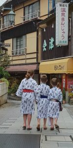 Our three children enjoying exploring Shibu Onsen'Japan style'