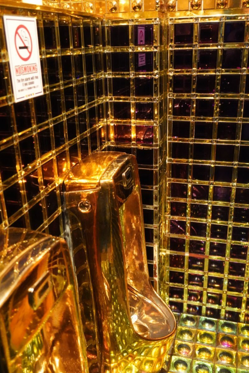 Gold Bathrooms at the Robot Restaurant