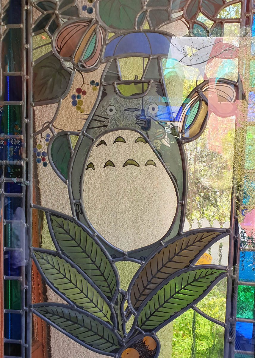 Totoro Stained Glass Door Panel