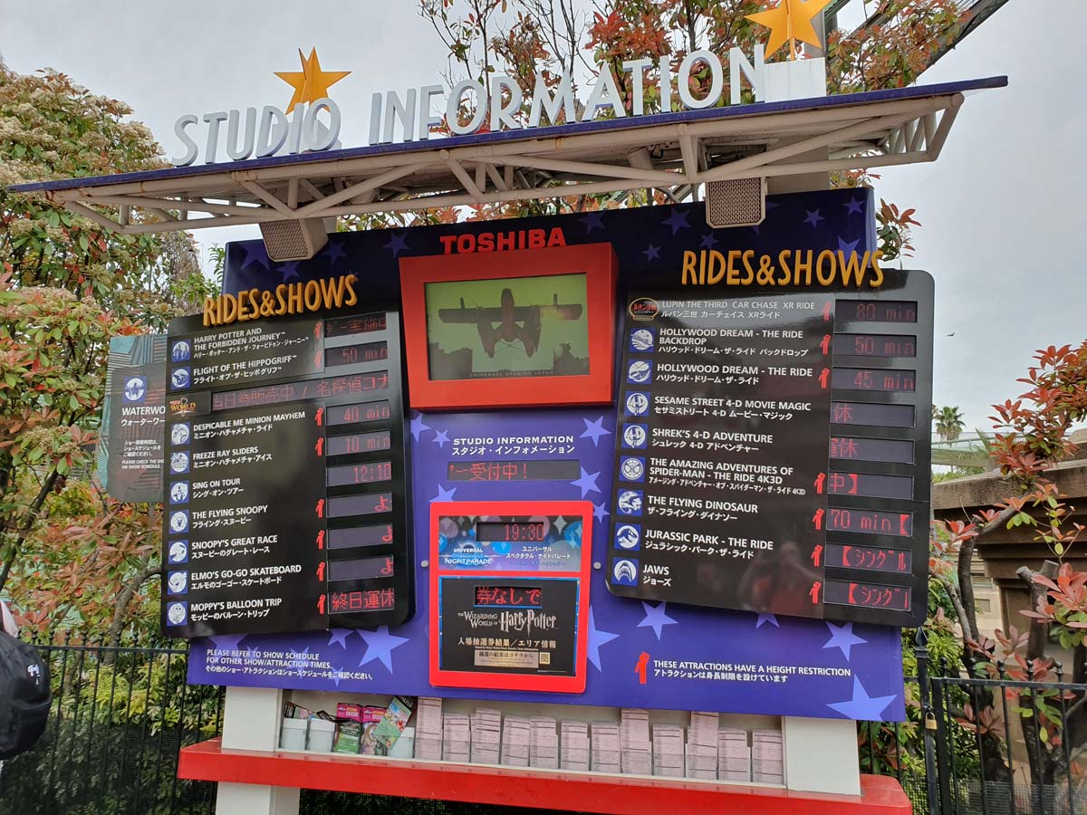 USJ Rides and Shows Wait Time Sign
