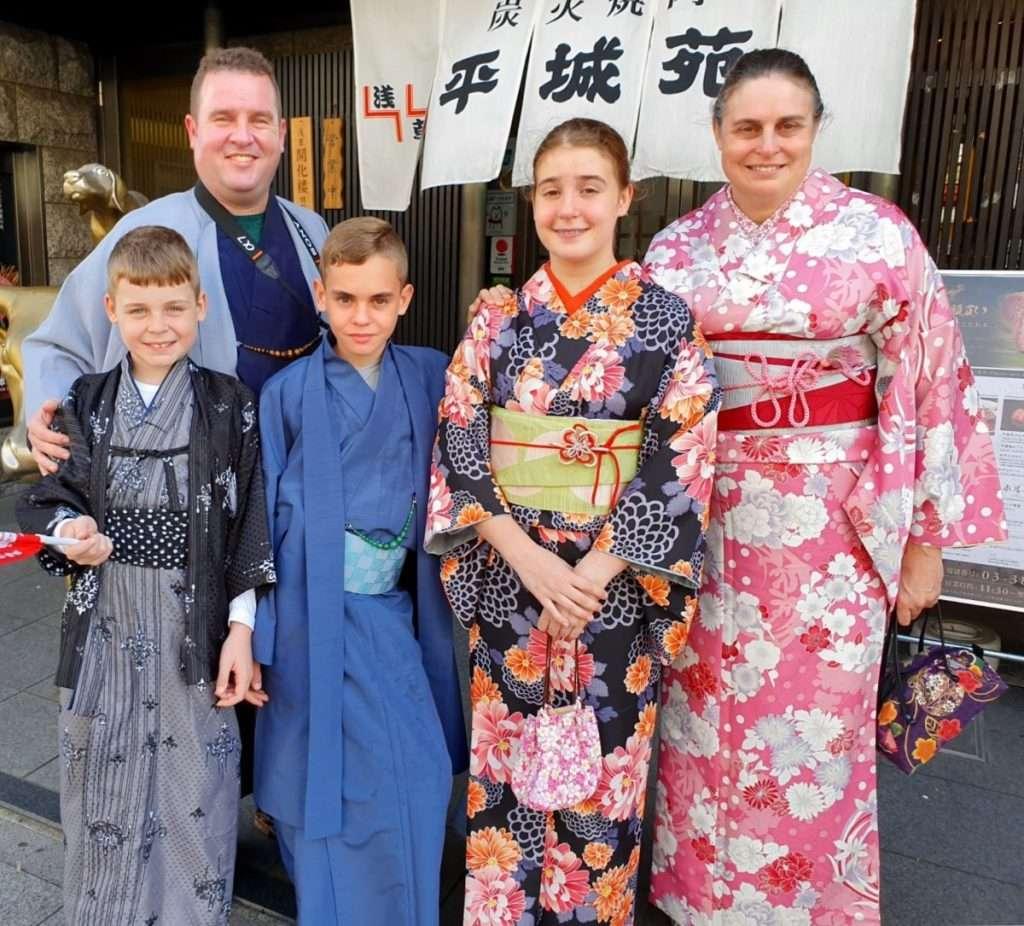 Our family wearing Kimonos in Asakusa