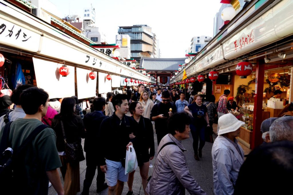 Nakamise Dori is the very popular shopping and food street leading up to Sensoji Temple